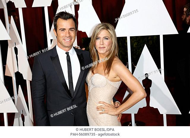 Actress Jennifer Aniston and her partner Justin Theroux attend the 87th Academy Awards, Oscars, at Dolby Theatre in Los Angeles, USA, on 22 February 2015