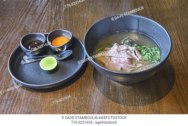 Beef soup at a restaurant in Bangkok, Thailand