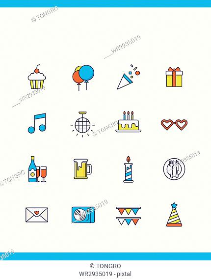 Various icons related to party