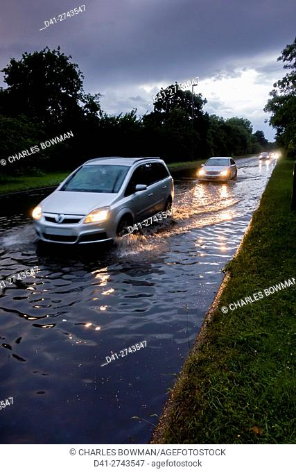 europe, UK, England, Surrey, flooded road