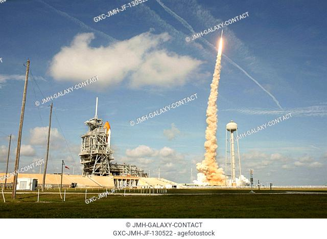 NASA's Ares I-X test rocket launches from Launch Complex 39B at NASA's Kennedy Space Center in Florida. Liftoff of the six-minute flight test was at 11:30 a