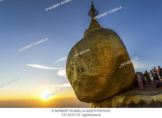 Myanmar (formerly Burma). Kyaiktiyo. State Mon. Sacred site of the golden rock