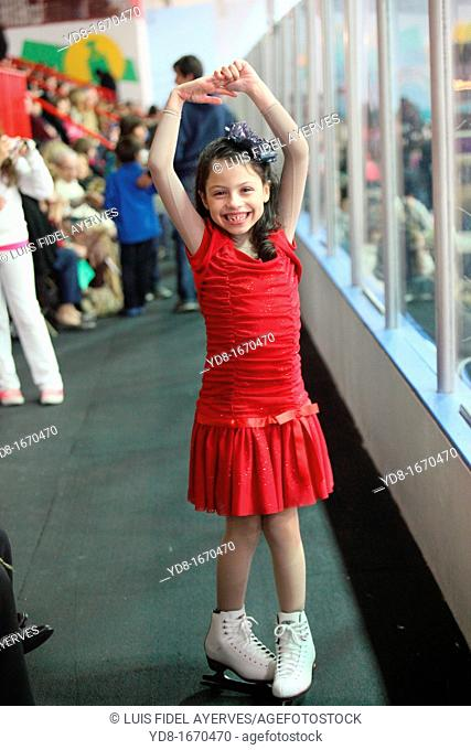 Happy girl in a presentation in Ice Skating, Miami, Florida, USA