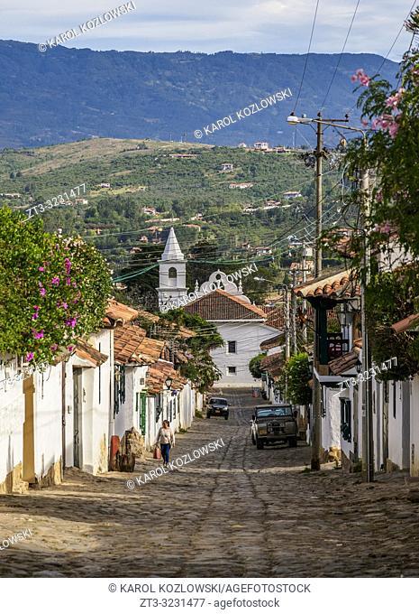 View towards El Carmen Church, Villa de Leyva, Boyaca Department, Colombia