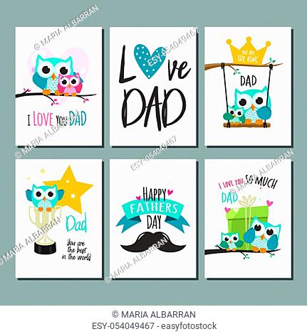 Fathers day greeting cards set. Vector illustration