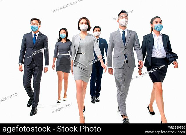 Business people wore masks