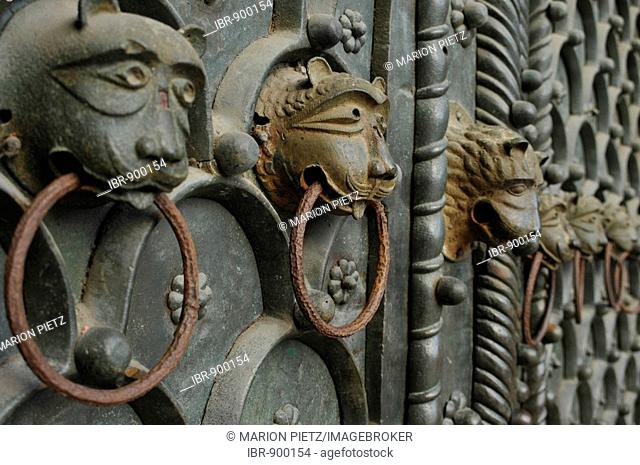 Detail of the entrance gate of the Basilica, Piazza San Marco Square, Venice, Italy, Europe