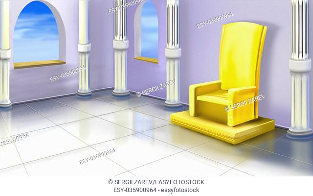 Digital painting of the Ancient Temple Interior with columns and throne