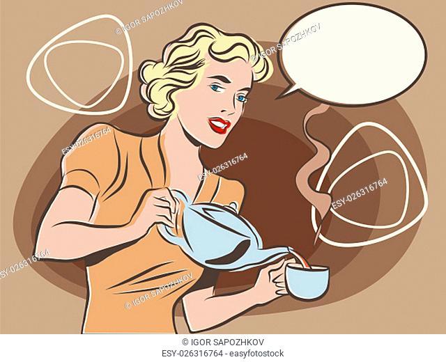 The waitress pours tea pop art line art comic retro. Retro waiter. Restaurant hot drink. pastel retro colors