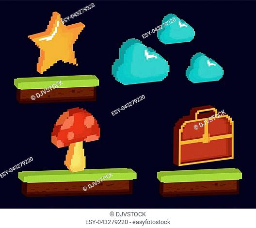 video game pixelated interface with clouds and coins over black background colorful design vector illustration
