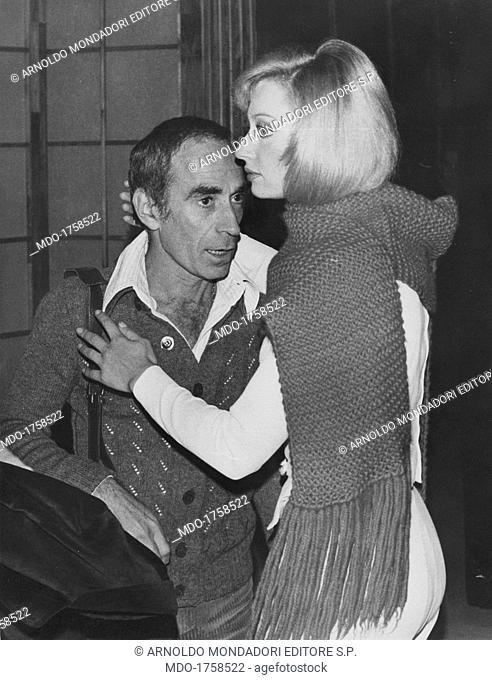 Raffaella Carrà hugging Don Lurio. Italian showgirl Raffaella Carrà (Raffaella Maria Roberta Pelloni) hugging American dancer and choreographer Don Lurio in the...