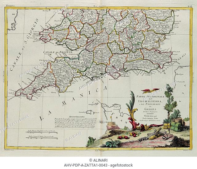The southern part of England and of the Principate of Wales, engraving by G. Zuliani taken from Tome I of the Newest Atlas published in Venice in 1778 by...