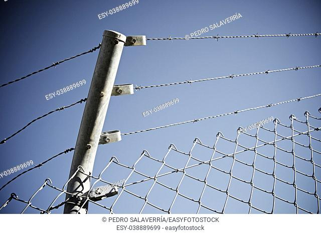 Barbed wire fence view in Spain