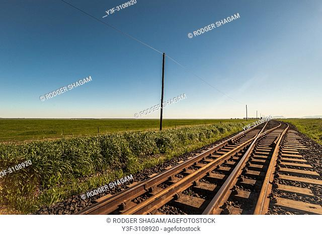 Railway siding used for loading harvested crops in a farming community. Western Cape Province, South Africa
