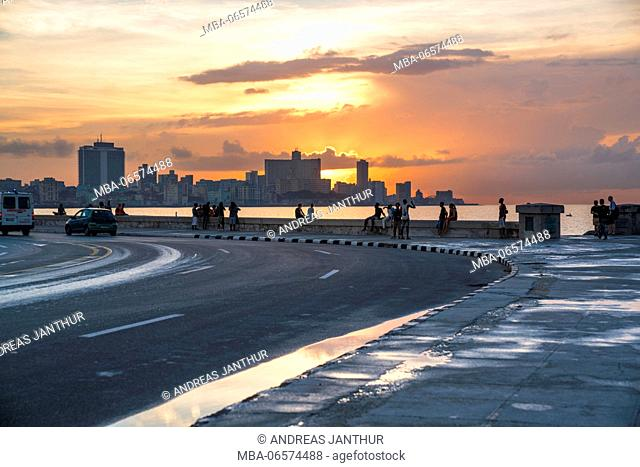 Malecon at sundown, the city in the background, evening mood