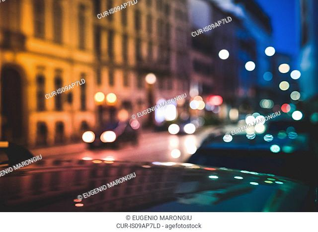 Busy road at night, Milan, Italy