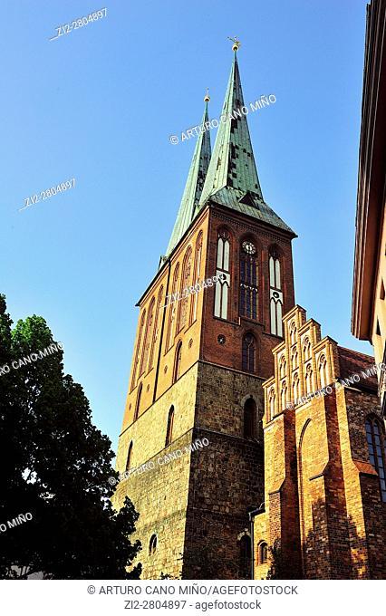 St. Nicholas' Church at the Nikolaiviertel -Nicholas' Quarter-. Berlin, Germany