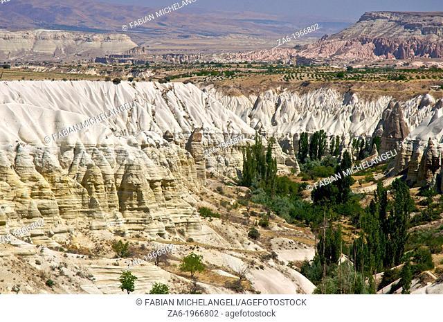 Eroded valley near Uchisar, Goreme Valley, Cappadocia, Central Anatolia, Turkey