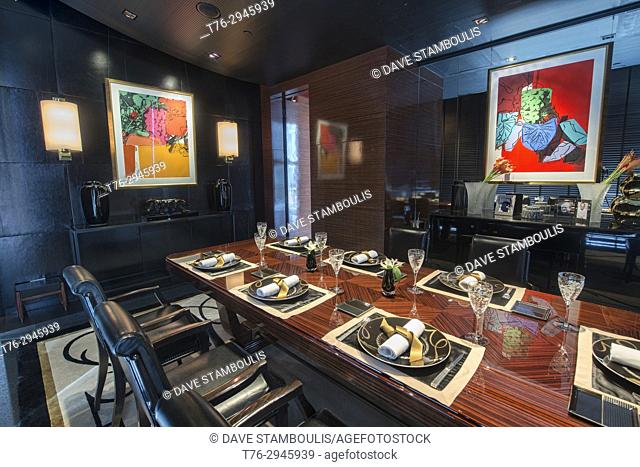 Interior of the elegant Atelier de Joel Robuchon, Bangkok, Thailand