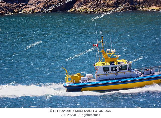 Atlantic Pilotage Authority boat, St John's, Newfoundland, Canada. Look after economic wellbeing of ports and protection of the environment