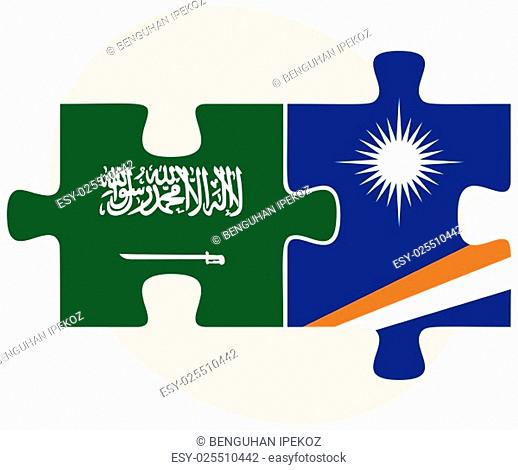 Saudi Arabia and Marshall Islands Flags in puzzle isolated on white background