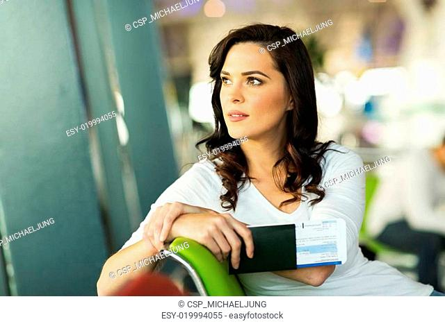 pretty woman waiting for her flight