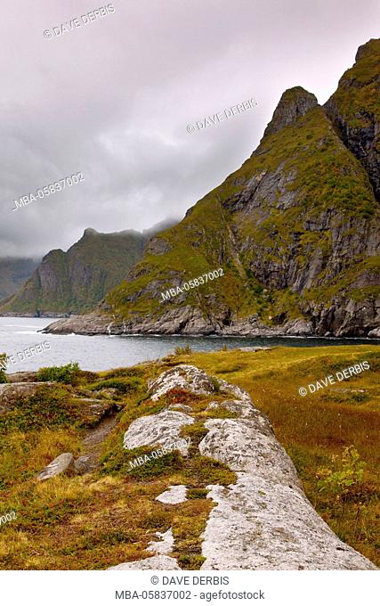 Mountains, cliffs, coast, A, Moskenesoya, Lofoten, northern country, Norway