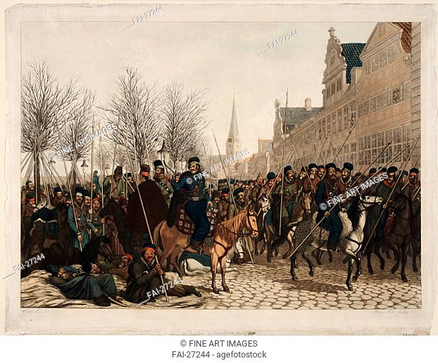 Cossacks in Hamburg, 18 March 1813 by Suhr, Christoph (1771-1842)/Aquatint/Neoclassicism/1813/Germany/Private Collection/68x88/History/Graphic arts/Kosaken in...