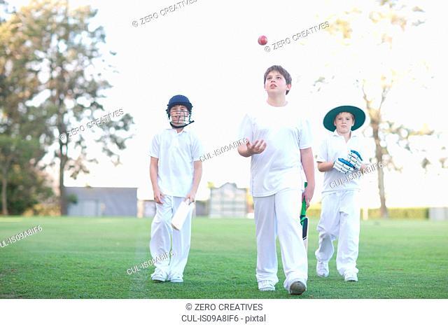 Three boys walking on cricket pitch