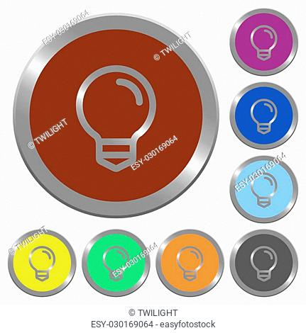 Set of color glossy coin-like light bulb buttons