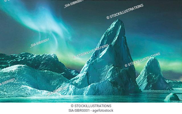 Iceberg and Aurora Borealis