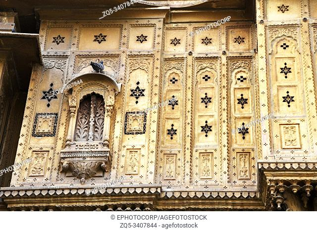 Traditional architectural details of Haveli, palace at Jaisalmer, Rajasthan, India