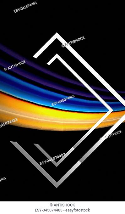 Rainbow fluid colors wave and metallic geometric shape. Artistic illustration for presentation, app wallpaper, banner or poster