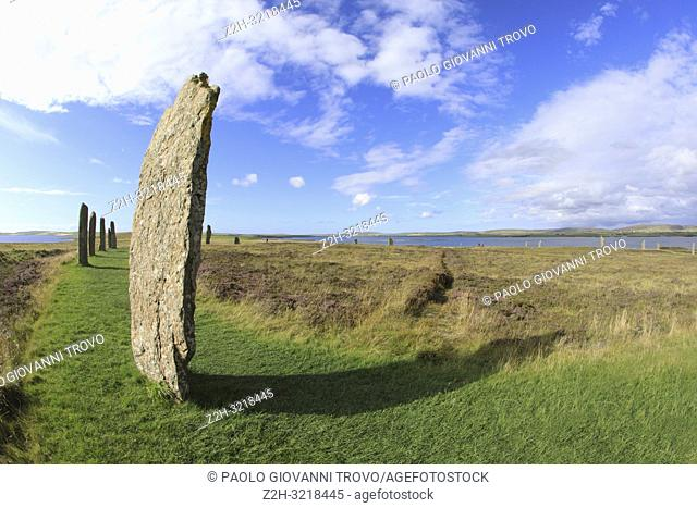 Ring of standing stones at Brodgar, Orkney, Scotland, Highlands, United Kingdom
