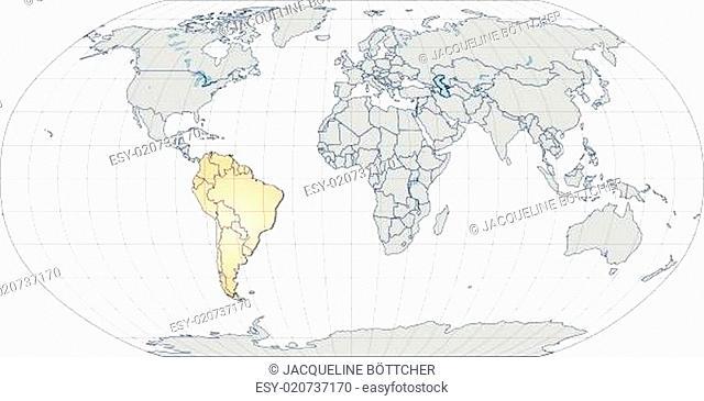 Karte von Suedamerika mit Grenzen in Pastellorange
