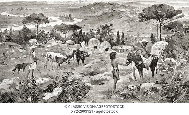 A primitive Etruscan settlement, c. 700 BC. After the painting by Allan Stewart, (1865-1951). From Hutchinson's History of the Nations, published 1915