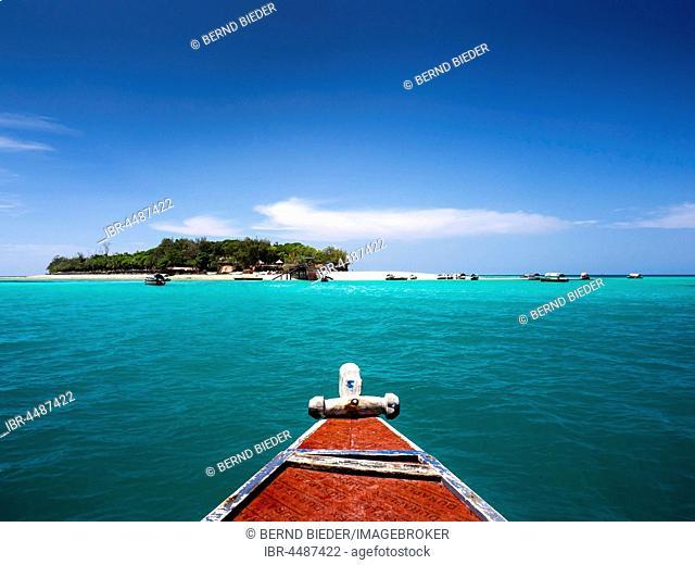 Boat in front of Prison Island, Zanzibar Archipelago, Tanzania