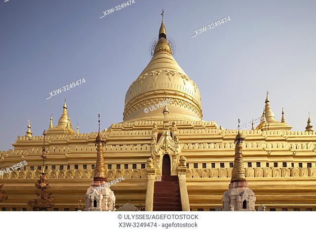 Shwezigon pagoda, Nyaung-U village, Bagan village area, Mandalay region, Myanmar, Asia