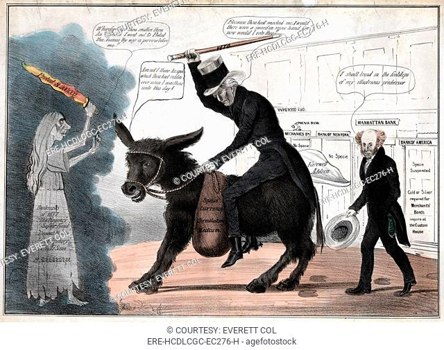 'The modern balaam and his ass', showing President Andrew Jackson riding the Democratic Party Donkey while President Martin Van Buren comments approvingly