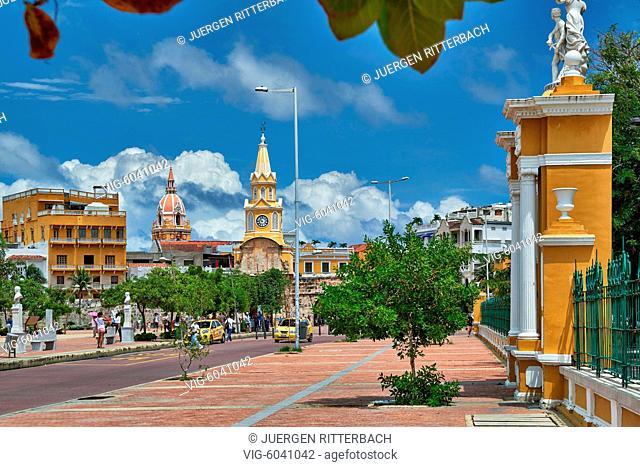 Torre del Reloj and Plaza de la Paz, Cartagena de Indias, Colombia, South America - Cartagena de Indias, Colombia, 29/08/2017