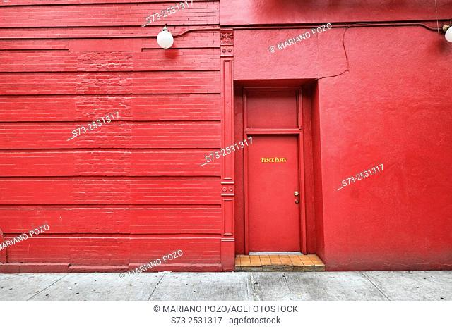 Red facade in downtown Manhattan, New York, USA