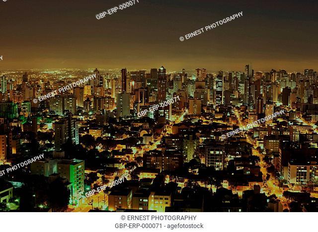 Night, city, view from above, Sao Paulo, Brazil