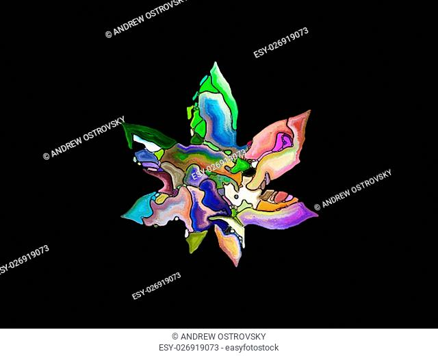 Color Apart series. Abstract background made of leaf profile and vivid paint shapes for use with projects on art, spirituality and design