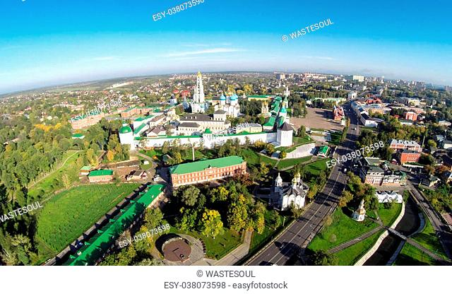 Aerial panoramic view the Trinity Lavra of St. Sergius in Sergiev Posad, Russia