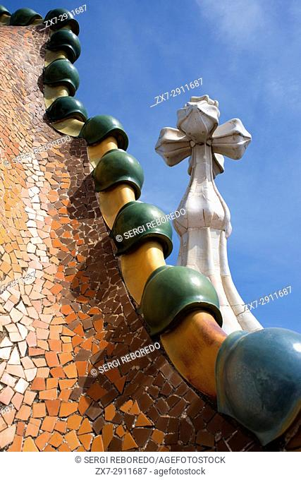 Roof detail of the Casa Batllo, by Antoni Gaudi, Barcelona, Catalonia, Spain