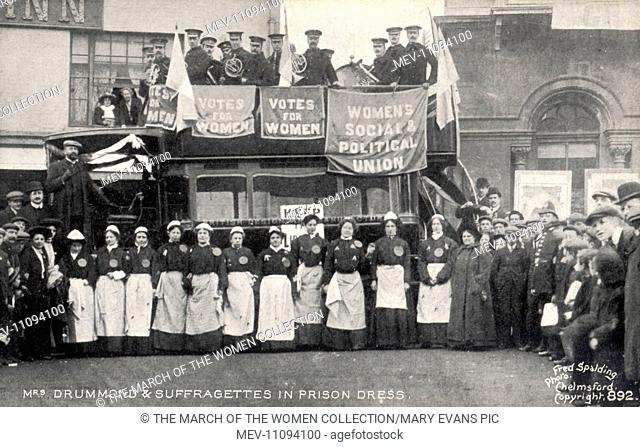 The scene on a Saturday in late November 1908, outside an inn, Chelmsford, Essex. The W.S.P.U organised a colourful demonstration ahead of the forthcoming...