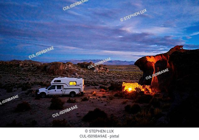 Recreational vehicle, travelling at dusk, Oruro, Oruro, Bolivia, South America