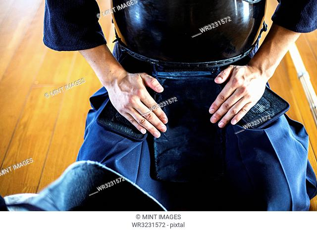Close up of Kendo fighter kneeling on floor, hands on lap