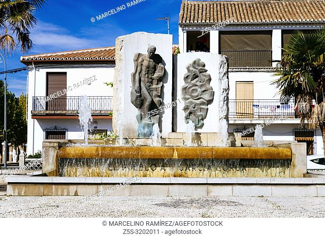 Monument to Federico Garcia Lorca. Fuente Vaqueros, Granada, Andalucia, Spain, Europe