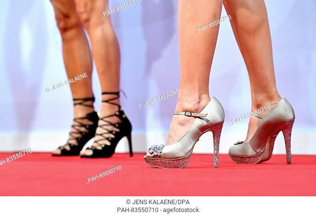 High heels at the Bertelsmann Party in the Bertelsmann representation in Berlin, Germany, 8 September 2016. PHOTO: JENS KALAENE/dpa | usage worldwide